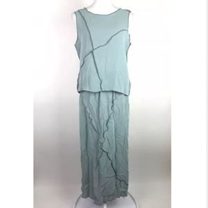 Babette Set Skirt Top Blue Crinkle Sleeveless Maxi